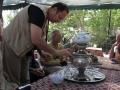 Serving tea from a samovar