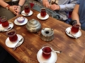Turkish tea in the traditional tulip-shaped tea glasses