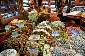 A variety of Turkish Delight in the market
